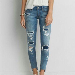 AEO Denim X Super Low Jeggings Skinny Jeans Blue